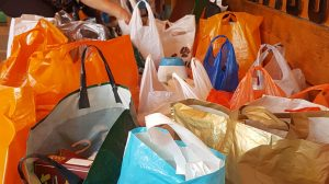 shopping bags full of food for foodbanks