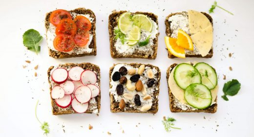 bread with brightly coloured toppings